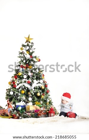 Christmas tree on snow blue background stock photo for Baby christmas tree decoration