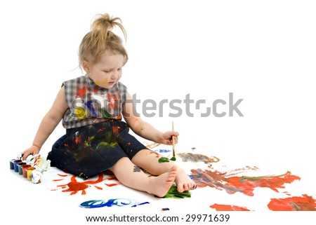 Cute baby paintings on a white floor