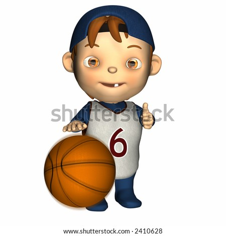 Cute baby playing with a basketball.  Ball has motion blur. Isolated on a white background.