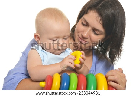 Cute baby playing with her mother on a white background - stock photo