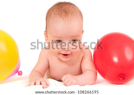 Cute baby portrait isolated on white background full with colorful balloons - stock photo