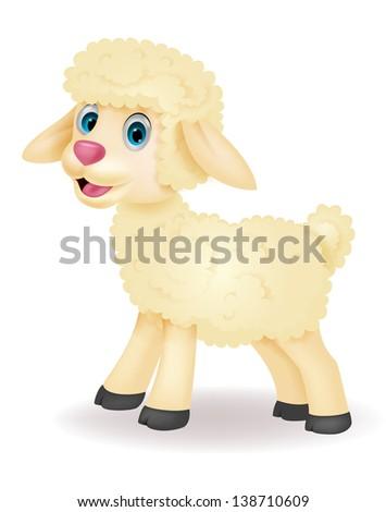 Cute baby sheep cartoon - stock photo
