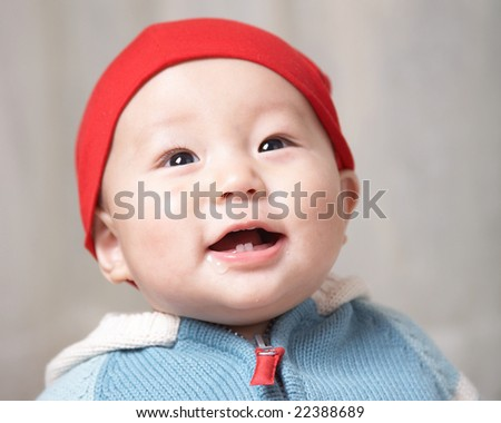 cute baby smiling - stock photo