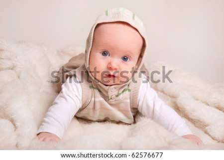 cute baby, studio shot(4 months old) - stock photo