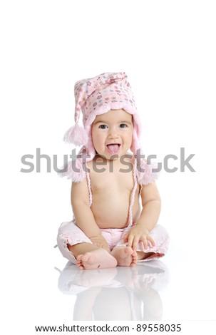 Cute baby wearing winter hat - stock photo