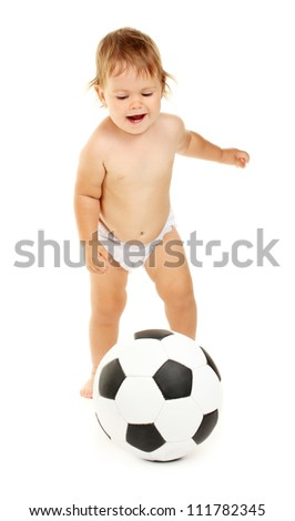 Cute baby with ball isolated on white - stock photo