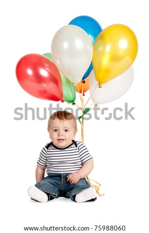 cute baby with balloons isolated on white - stock photo