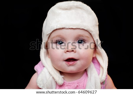 Cute baby with cap - stock photo