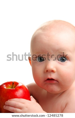 Cute baby with delicious red apple isolated on white - stock photo