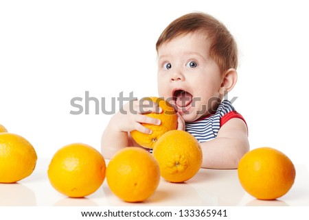 cute baby with orange isolated on white - stock photo