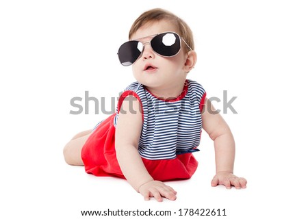 cute baby with sunglasses isolated on white background - stock photo