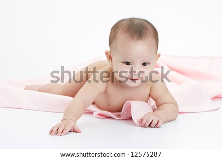 cute baby without cloth, play alone happily