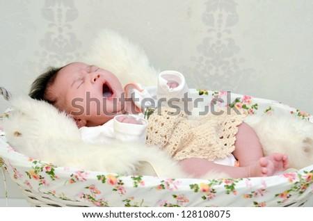 cute baby yawning - stock photo