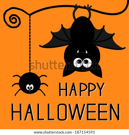 Cute bat and hanging spider. Happy Halloween card. Rasterized copy - stock photo