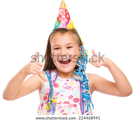Cute beautiful girl celebrate her birthday, isolated over white