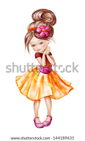 cute beautiful happy little girl, watercolor painting isolated on white background - stock photo