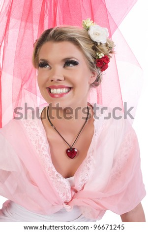 Cute, beautiful, sexy valentine girl looking up to the left - stock photo