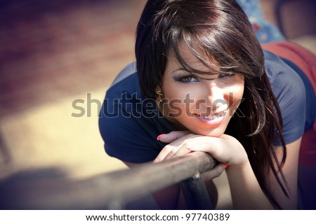 Cute beautiful young woman with sweet smile - stock photo