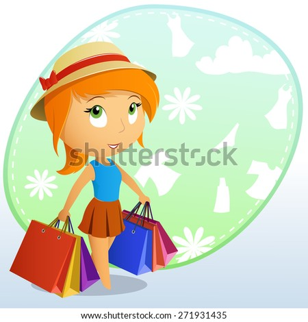 Cute beauty girl in the cap with shopping bags on background. - stock photo