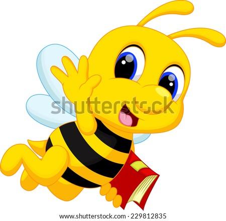 Cute bee cartoon - stock photo