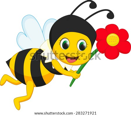 cute bee with red flower