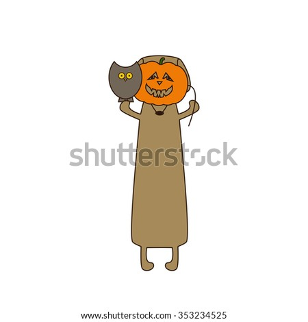 Cute beige colored brown contoured dachshund standing on hind legs with dissolved forelegs, holding mask in the shape of pumpkin in one paw and owl sitting on his another paw. Flat style illustration - stock photo