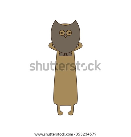 Cute beige colored brown contoured dachshund standing on hind legs with dissolved forelegs, holding mask in the shape of owl in his paws. Flat style illustration - stock photo