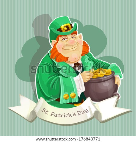 Cute big fat Leprechauns guard the pot of gold - Poster - stock photo