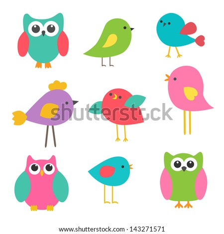 Cute birds and owls. Raster version - stock photo