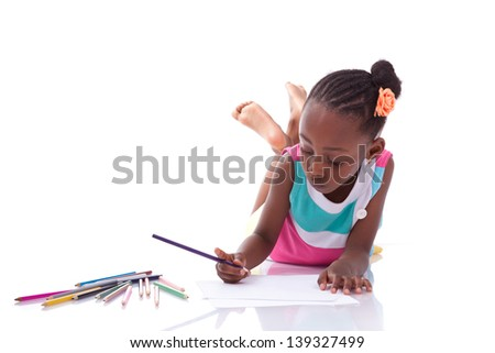 Cute black african american little girl drawing, isolated on white background - African people - Children - stock photo