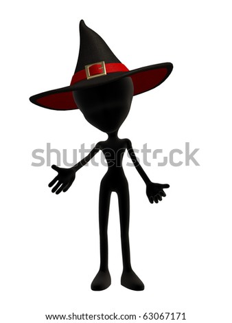 Cute black alien witch perfect for Halloween - stock photo