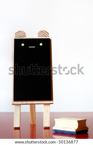 cute black board with duster
