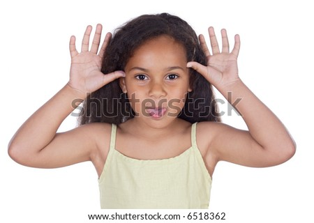 Cute black girl mocking isolated in white - stock photo