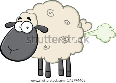 Cute Black Head Sheep Cartoon Mascot Character With Fart Cloud. Raster Illustration Isolated on white - stock photo