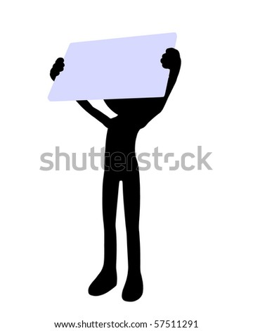Cute black silhouette guy holding a blank business card on a white background