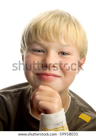 Cute blond boy with satisfied expression, isolated on white background - stock photo