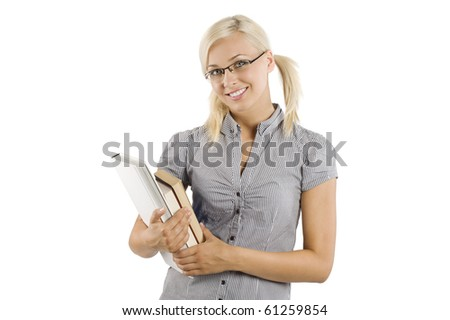cute blond girl with book and glasses looking and smiling at the camera - stock photo