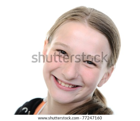 Cute blond school girl portrait, smiling, ten 10 years old - stock photo