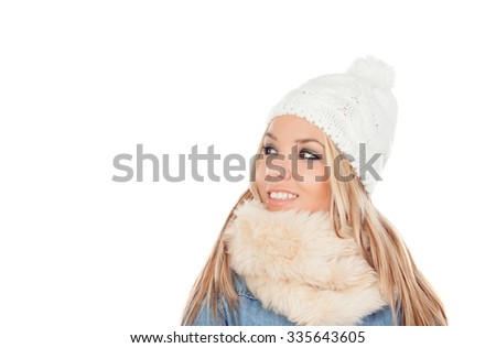 Cute Blonde Girl with coats winter clothes isolated on a white background