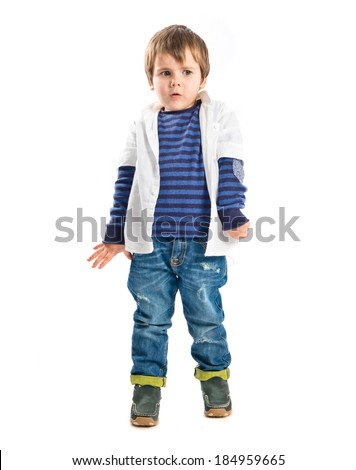 Cute blonde kid over isolated white background