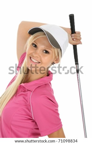 Cute blonde lady golfer in pink shirt and white cap - stock photo