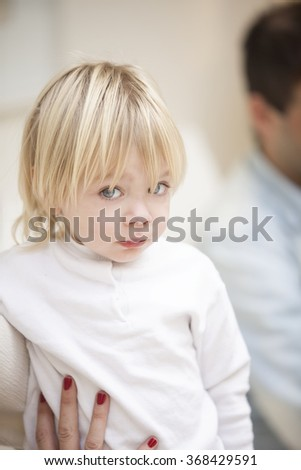 Cute blonde little boy portrait - stock photo