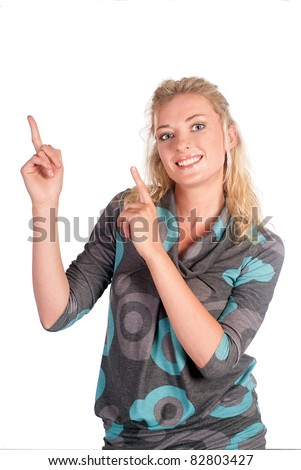 cute blonde posing on a white background - stock photo