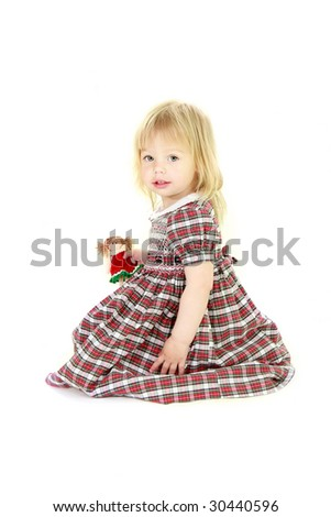 cute blonde toddler girl over white