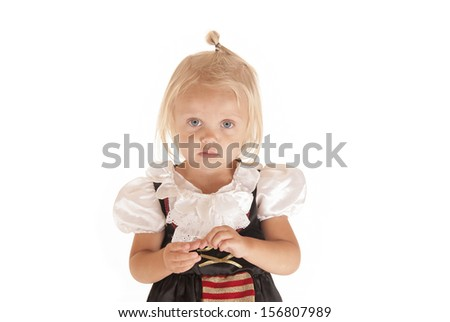 Cute blonde with blue eyes pirate costume - stock photo