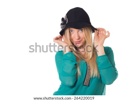 Cute blonde woman hand het black hat in white background