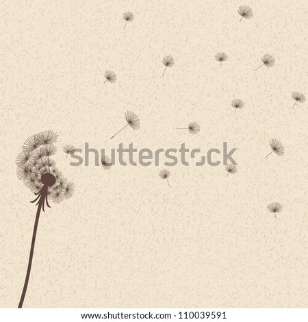 Cute blow dandelion on old background - stock photo
