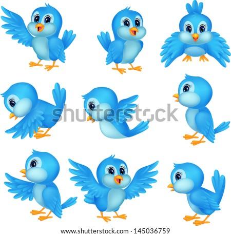 Cute blue bird cartoon - stock photo