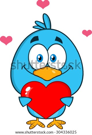 Cute Blue Bird Cartoon Character Holding A Love Heart. Raster Illustration Isolated On White - stock photo