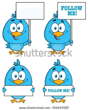 Cute Blue Bird Cartoon Character 6. Raster Collection Set - stock photo